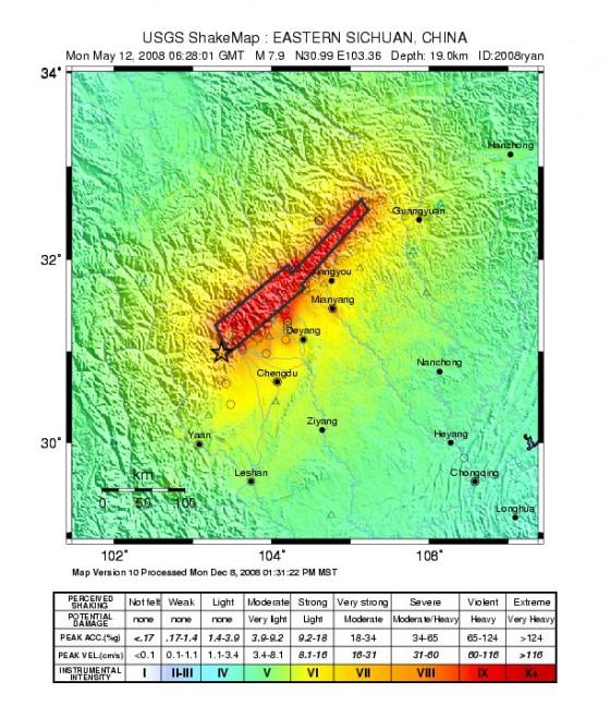 汶川地震烈度分布