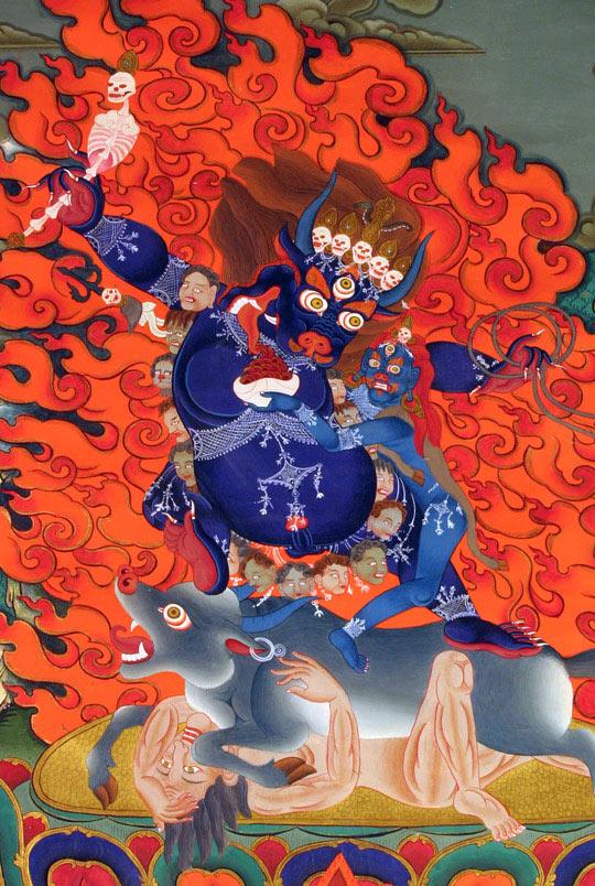 降阎魔尊·现代唐卡·手绘