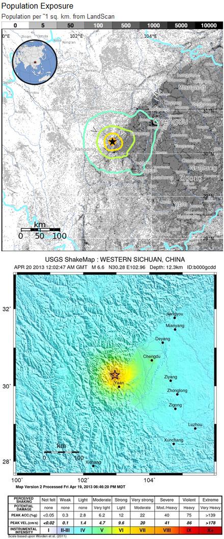 受影响人口分布和烈度图 来源USGS