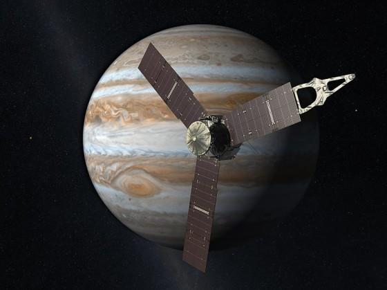 朱诺探测器和木星(想象图)