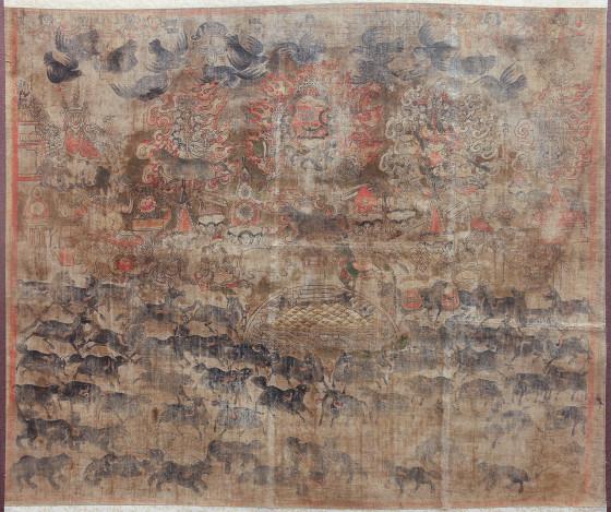 元代唐卡《八宝护法图》(甘肃省博物馆定代命名)
