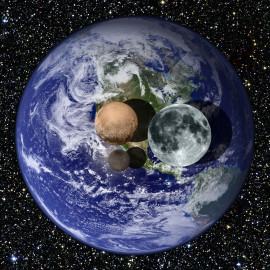 冥王星、卡戎和地球、月球的大小比较 除月球外的图片其余部分来自NASA