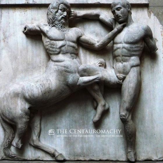帕特农神庙浮雕《拉庇泰人与肯陶洛斯人战斗》 · 大英博物馆