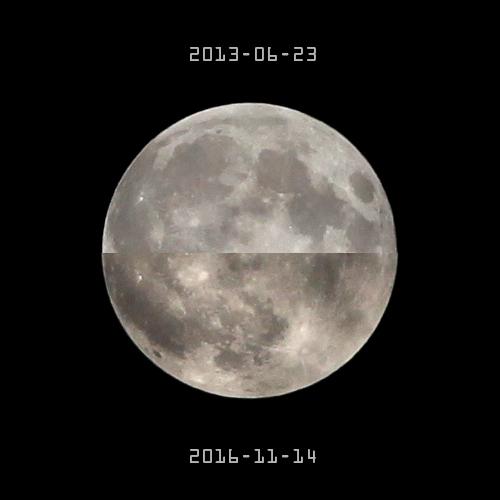"""和2013年6月23日的""""超级月亮""""大小对比"""
