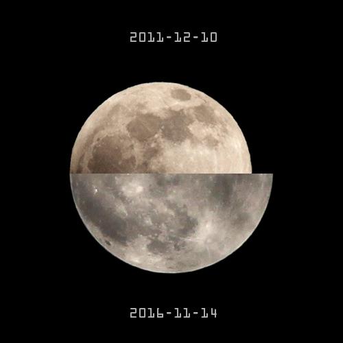 """和2011年12月10日的""""一般月亮""""大小对比"""